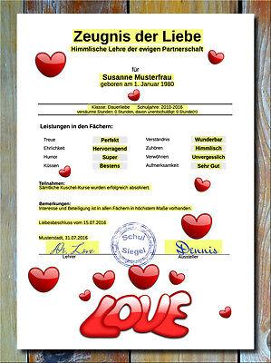 Zeugnis der Liebe - Liebesbeweis Geschenk Partner Valentinstag Hochzeitstag