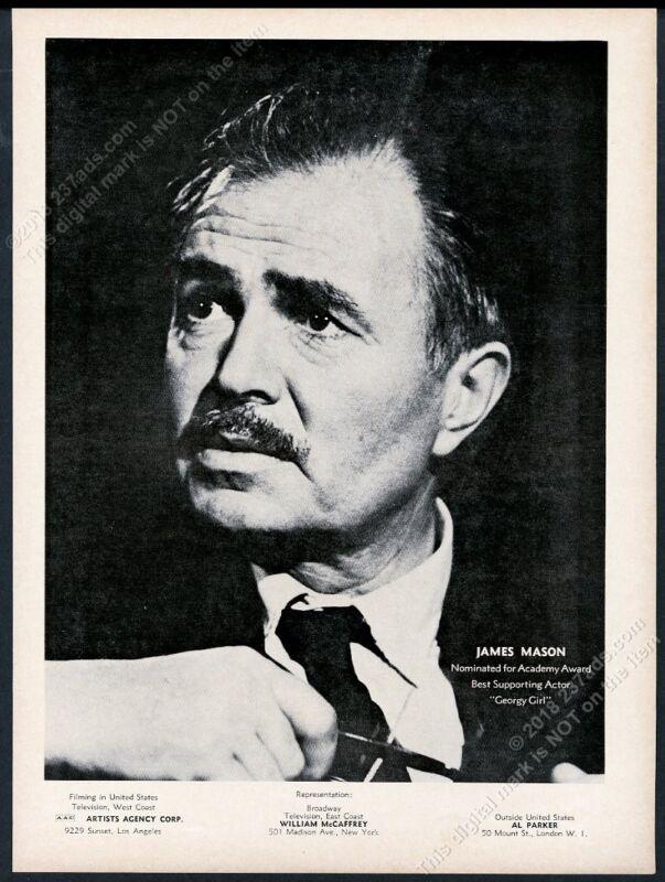 1967 James Mason photo movie trade gig booking ad