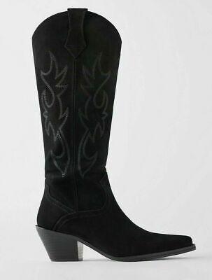ZARA COWBOY SPLIT SUEDE COWBOY-HEEL BOOTS LEATHER BLACK REF.5029/001