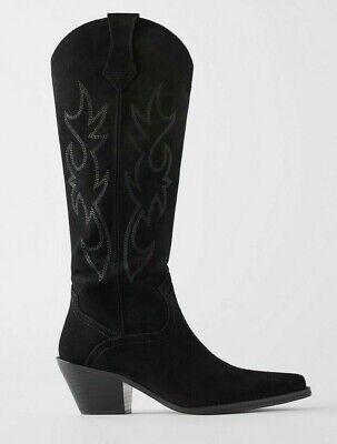 ZARA WOMAN COWBOY SPLIT SUEDE COWBOY-HEEL BOOTS LEATHER BLACK 5029/001 NEW FW19