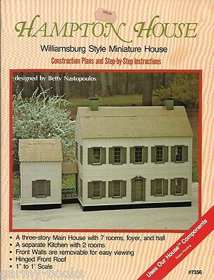 Hampton House Williamsburg Style Miniature Plans Book Betty Nastopoulos 7356 NEW