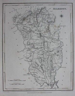 Original antique county map IRELAND, KILKENNY, Lewis, Creighton, Dower, 1837