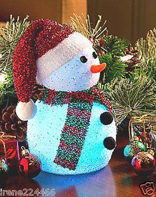 cba454181852d Color Changing LED Table Top Snowman w Santa Hat Décor 4x7 NIB