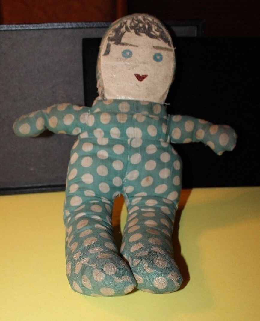 Antique Cloth Rag Doll With Hand Painted Face Very Old From Estate Sale 15  - $22.99