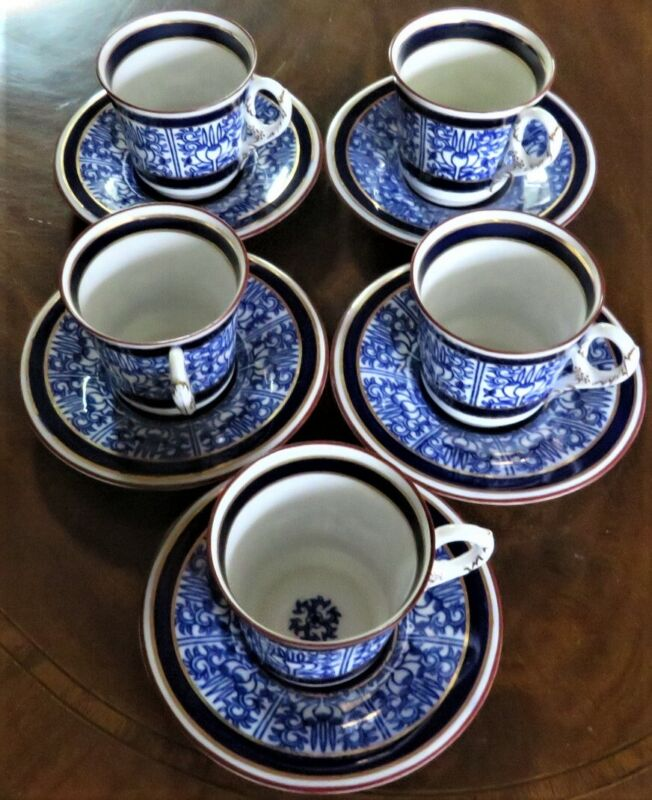 "5 ""STOKES"" 1925 ROYAL WORCESTER ""ROYAL LILY"" DEMITASSE CUPS SAUCERS EX-CONDITION"