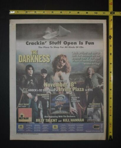 The Darkness 2003 Color Album/Concert Ad Permission to Land Justin Hawkins