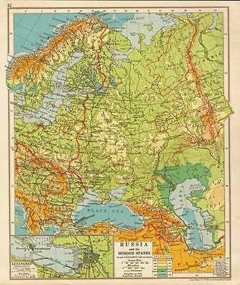 Russia & its Border States 1930 Original Antique Map