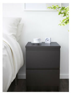 TWO 2-drawer chest (nightstand), black-brown, IKEA