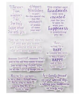 8 SENTIMENTS/SAYINGS CLEAR STAMPS-OCCASIONS-BABY/BIRTHDAY/LOVE/THANK YOU/MEMORY