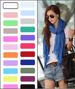 Hot-19-Colors-Womens-Girls-Soft-Crinkle-Long-Pure-Candy-Scarf-Wrap-Shawl-Stole