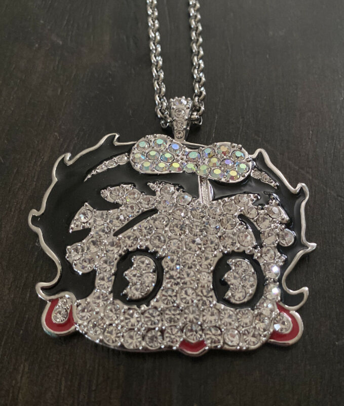 NEW Limited Collectible Betty Boop Encrusted Pendant W/Chain~ FREE SHIPPING~