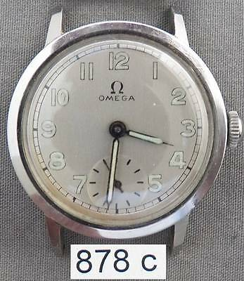 Early Omega Vintage Men's Stainless Steel Wrist Watch, Nice, Late 1930s.