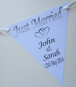 2-5m-Personalised-JUST-MARRIED-Wedding-Bunting-10-Flags-Table-Candy-Bar-Party