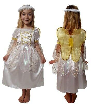 GIRLS GOLD ANGEL HALO & WINGS CHILDRENS FANCY DRESS COSTUME NATIVITY SCHOOL - Angel Costume Nativity