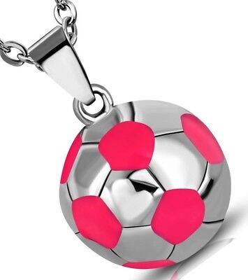Stainless Steel Silver Tone Pink Soccer Ball Football Pendant Necklace