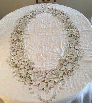 """Vintage 66"""" X 100"""" Tablecloth Hand Embroidered & Cut Work Excellent Condition"""