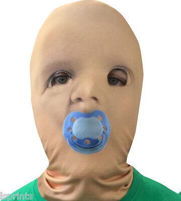 Baby Gesicht Blau Attrappe 3D Effekt Lycra Maske Gesichtsmaske Halloween ()