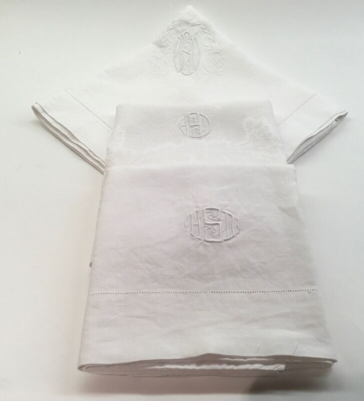 Antique Monogram White Wedding Trosseur Linen Tablecloth  Towel Pillowcase