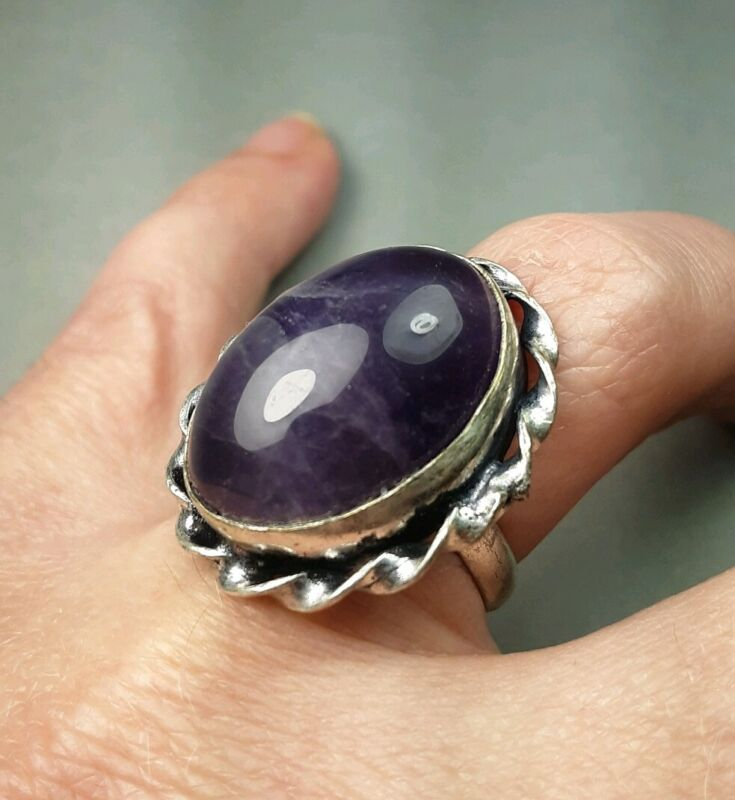 Large Natural Amethyst Gemstone Solitaire Cabochon Ring Estate Jewelry Size 6