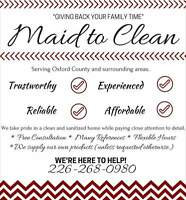 Cleaning service in Oxford County and surrounding areas!