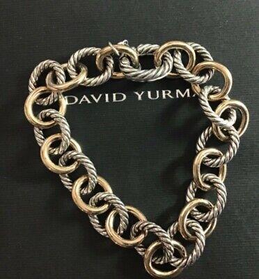 David Yurman Large Oval Link Bracelet with sterling silver 925 and 18k gold 7.5 David Yurman Gold Bracelet