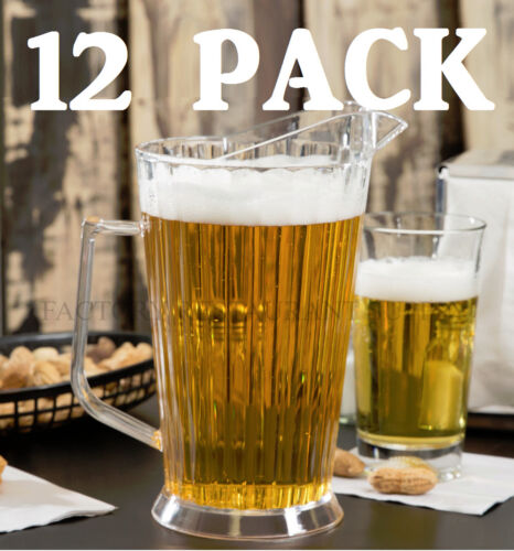 12 PACK Polycarbonate 60 Oz Plastic Clear Beer Bar Serving Pitcher Restaurant