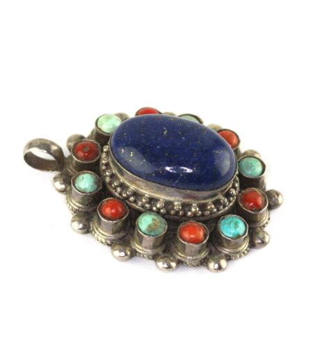 Vintage Chinese Silver Coral Turquoise Lapis Lazuli Pendant