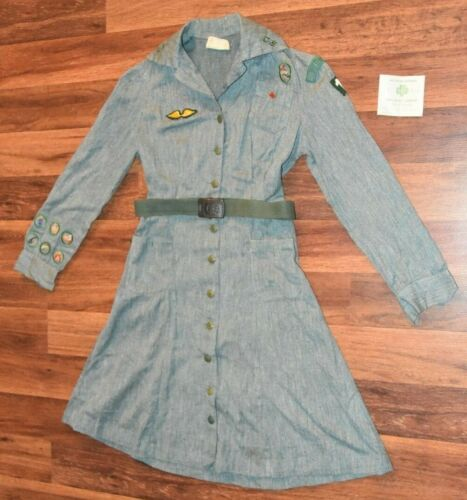 Vintage Girl Scout Uniform Dress W/ Patches Cambridge Wings Roses belt pin old