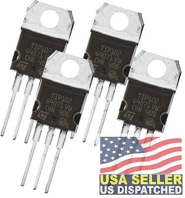 4 Piece Stmicroelectronics Tip102 Trans Npn 100v 8a To-220 Darlington