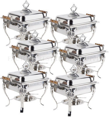 6 Pack Catering Classic Stainless Steel Chafer Chafing Dish Set 4 Qt Buffet Half