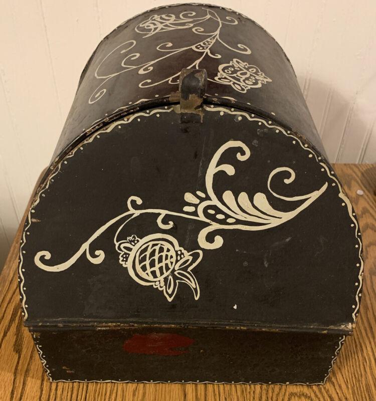 Vintage Mid-Century Metal Bread Box? Pie Safe? Hand Painted