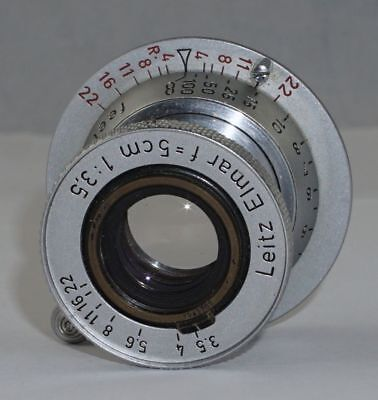 Leitz Elmar f3.5 5cm Collapsible Red Scale Lens Leica LTM M39 from 1955