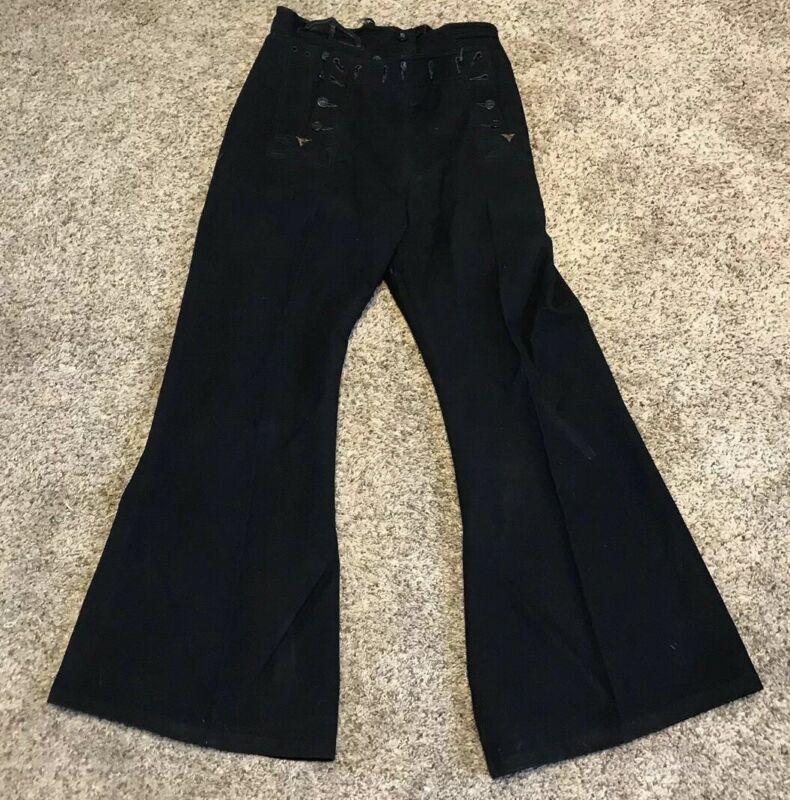 Vintage Portlite US Navy Black Bell Bottom Pants Trousers