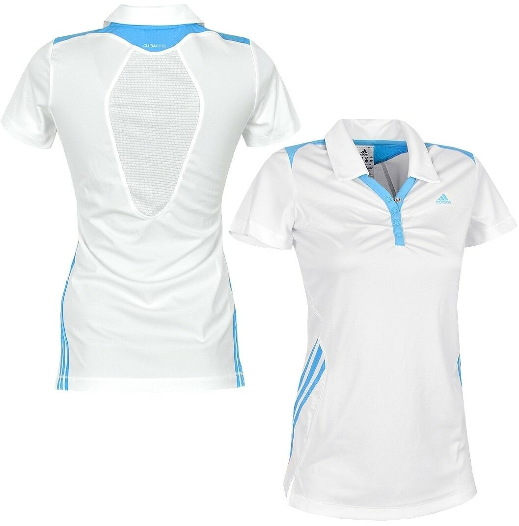 Adidas RSP CLIMACOOL Damen Polo Shirt Kleid Tennis Fitness Sport Laufshirt weiss