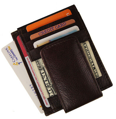 Mens Leather Magnet Money Clip Slim Credit Card Id Holder Multi function Wallet