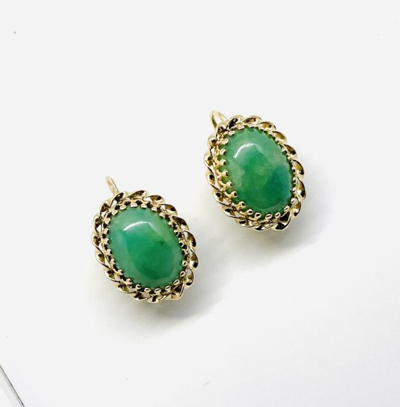 14k SOLID Yellow Gold and Jade Earrings. Perfectly Restored.