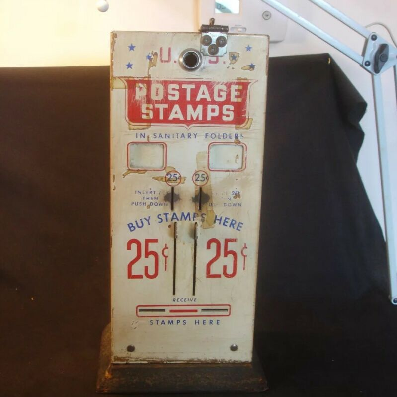 Old Vtg US Mail Postage Metal Stamp Machine Dispenser Coin 25/25 Cent