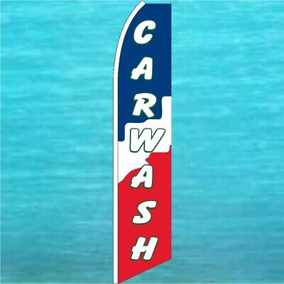 Car Wash Flutter Flag Tall Curved Top Feather Swooper Advertising Banner Sign