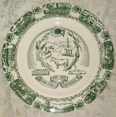 Collectible KETTLESPRINGS KILNS Plate ~ ALLEN COUNTY KANSAS 1855-1955 Historical
