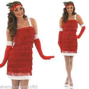 Ladies-Christmas-1920s-Gatsby-Red-Flapper-Fancy-Dress-Costume-Outfit-Plus-Size