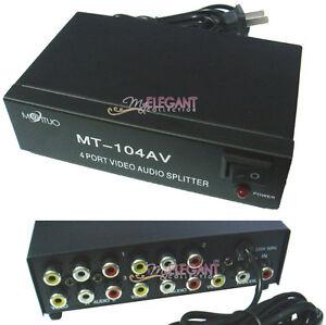 RCA Video Audio AV 1 to 4 Ports 4-Way TV DVD Splitter Repeater Metal Box