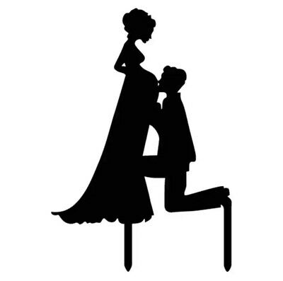 BLACK WEDDING CAKE TOPPER-PREGNANT BRIDE-MUM TO BE SILHOUETTE-BABY BUMP-ACRYLIC