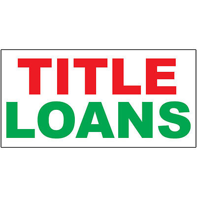 Title Loans Red Green Decal Sticker Retail Store Sign