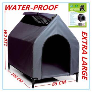 XLARGE Waterproof Pet House Grey Dog Bed Puppy Kennel Elevated