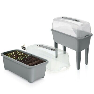 Grey 52L Mini Greenhouse Planter Propagator Seedbed for Garden Conservatory