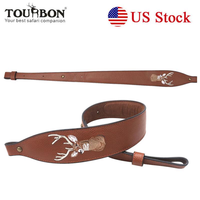 Shooting Leather Rifle Gun Sling Soft Padded Non-slip Strap in Brown USA-TOURBON
