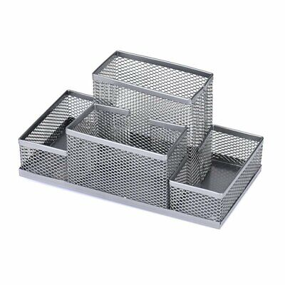 Multifunctional Pencil Holder Desk Organizer Metal Mesh Phone Stand Silver