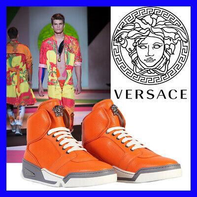 $1,125 New Versace Men's Orange Perforated Leather  High-Top Sneakers 42 - 9
