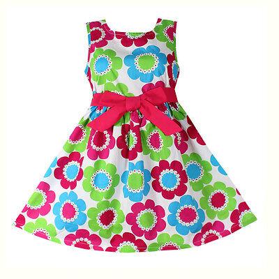 Girls Dress Fashion Flower Print Cotton Sundress Party Children Clothes 4 14T