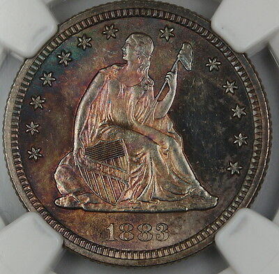 1883 SEATED LIBERTY QUARTER 25C, NGC UNC DETAILS, GEM BU TONED COIN